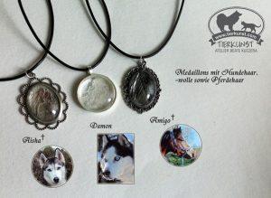 01 Verschiedene Medaillons mit Hundehaar