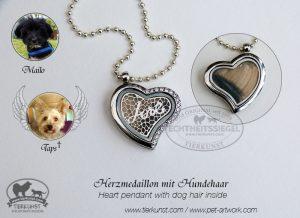 Herz Edelstahl mit Hundewolle