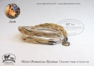 04 Wickelarmband geflochten aus hellem Pferdeschweifhaar