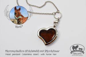 14 Herz Medaillon Edelsthal mit Pferdehaar