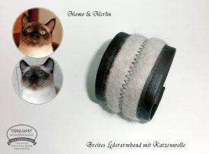 12 Breites Lederarmband aus Katzenwolle