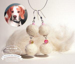 27 Ohrringe de luxe aus Hundewolle