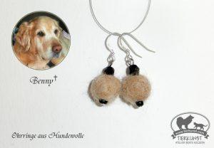 24 Ohrringe aus Hundewolle