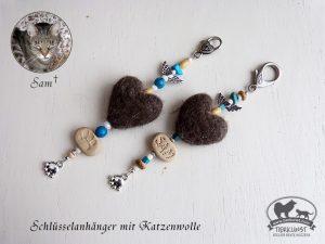 30 Schlüsselanhänger  Herzen aus Katzenwolle