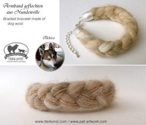 04 Armband geflochten aus Hundewolle mit Lederbändern