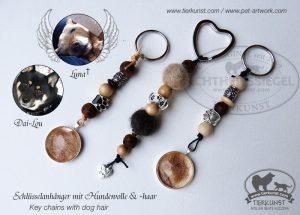 37 Schlüsselanhänger mit Hundewolle und Medaillons mit Hundehaar