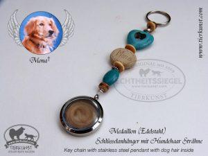 14 Schlüsselanhänger Medaillon mit Hundehaar