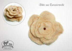 04 Blüten Brosche aus Hundewolle