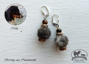 16 Ohrringe aus Hundewolle