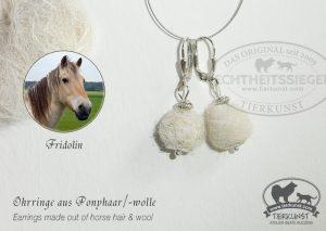 22 Ohrringe aus Pferdewolle