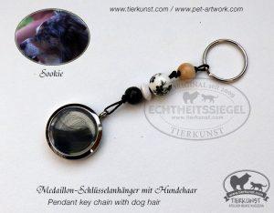 15 Schlüsselanhänger Medaillon mit Hundehaar