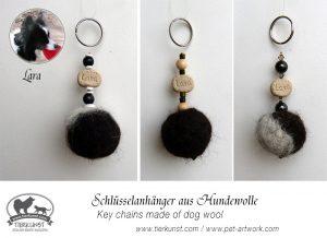 19 Schlüsselanhänger aus Hundewolle