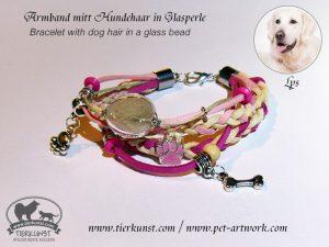 09 Armband mit Glashohlperlen mit Hundehaar