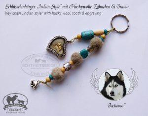 20 Schlüsselanhänger aus Hundewolle und mit Zahn