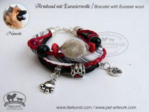 10 Armband mit Glashohlperlen mit Hundehaar