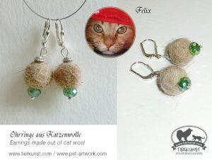 21 Ohrringe aus Katzenwolle