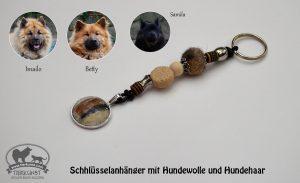 02 Schlüsselanhänger mit Medaillons mit Hundewolle und Haar