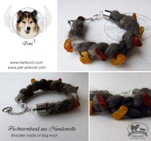 03 Armband geflochten aus Hundewolle mit Bernsteinen-doni-flechtarmband